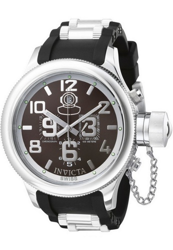 INVICTA black and silver Invicta Russian Diver Men 51.5mm Case Steel, Black Stainless Steel, Polyurethane Strap Gunmetal Dial Quartz Watch 4583 IN968AC0F5GISG_1