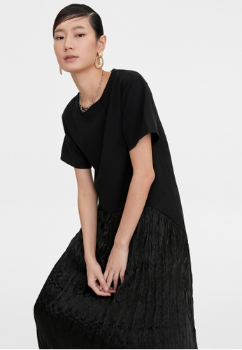 Pomelo black Semi Rustic Pleated Round Neck Dress - Black 5E3D5AACB1DD71GS_1