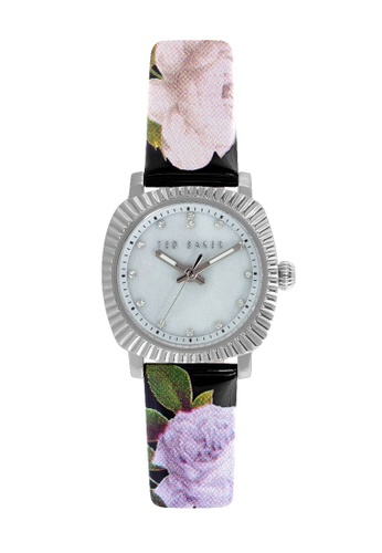 TED BAKER black and silver Ted Baker Women's 10024724 Floral Print Leather Analog Watch C64F1AC4DFBBB2GS_1