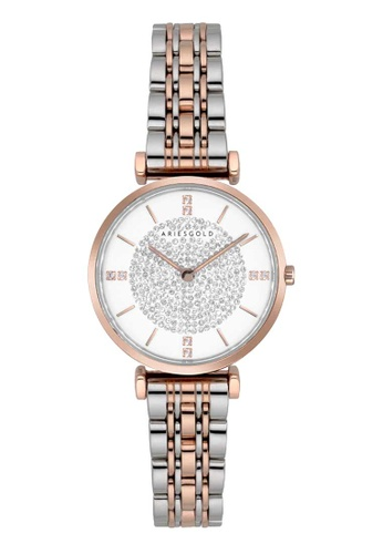 Aries Gold multi Aries Gold Vigoureux L 5039Z 2TR-W Rose Gold and Silver Stainless Steel Watch 648C3AC441E948GS_1