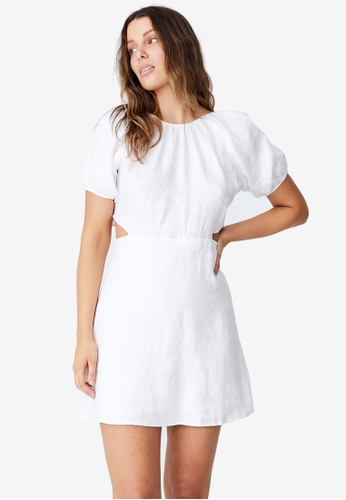 Cotton On white Woven Serene Cut Out Mini Dress D037AAADBA2194GS_1