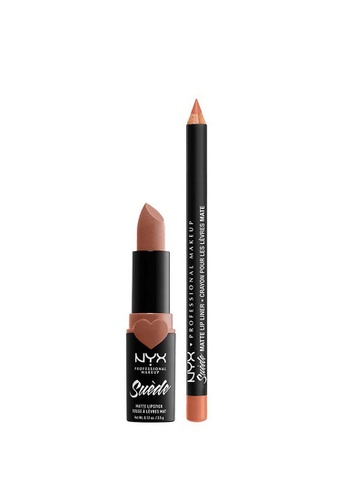 NYX Professional Makeup brown NYX Professional Makeup Suede Matte Lippie Duo Fetish 152B7BE923BB0BGS_1