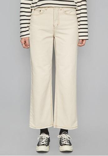 直筒縫線純棉長esprit暢貨中心褲, 服飾, 直腳褲