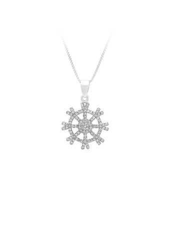 Glamorousky silver 925 Sterling Silver Snowflake Pendant with White Cubic Zircon and Necklace D716AAC949C0B3GS_1
