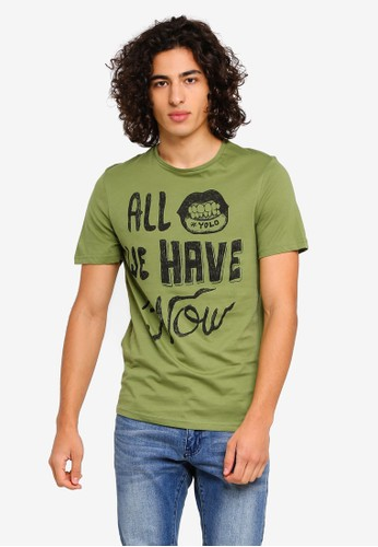 Only & Sons green Holden Printed T-Shirt EC7A2AACF9EAFAGS_1