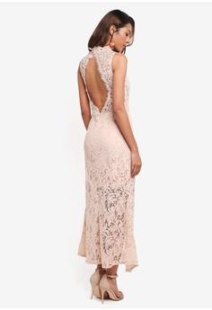 MDSCollections beige Open-Back Lace Dress In Nude 7081FAABDB4493GS_1