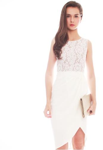 JOVET white Lace Tulip Dress C6575AAFDB5420GS_1