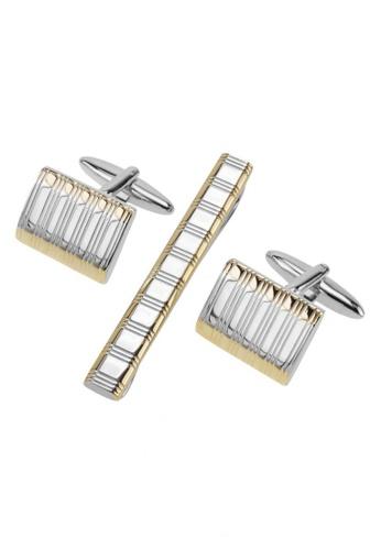 CUFF IT gold Two Tone Etched Stripes Cufflinks and Tie Clip Set CU047AC90COFHK_1