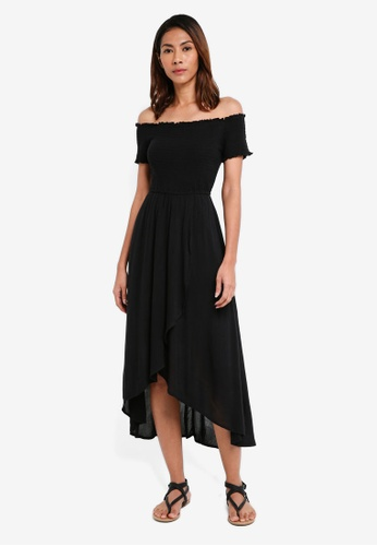 Hollister black Smocked Midi Dress 062ABAA0C921B6GS_1