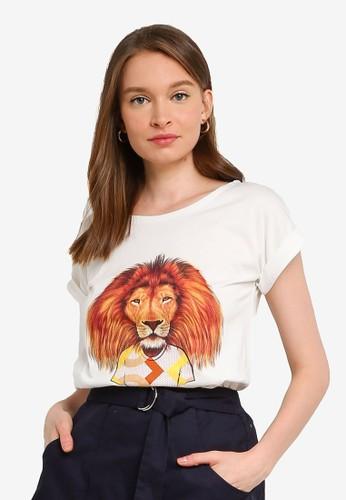 Compania Fantastica white Geometric Lion T-Shirt D50FCAA9C7F4BCGS_1