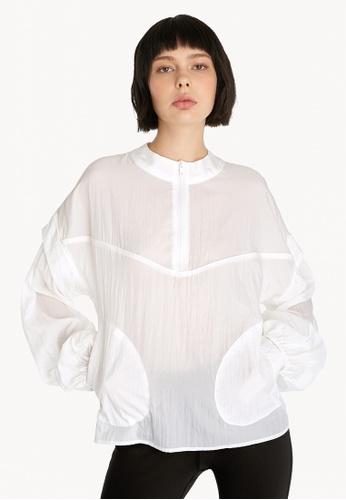 Pomelo white Semi Sheer Zipped Blouse - White BE485AA3992333GS_1