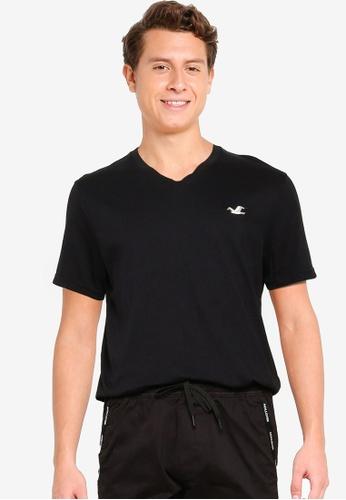 Hollister black V-Neck T-Shirt EB7B7AA5F71E71GS_1