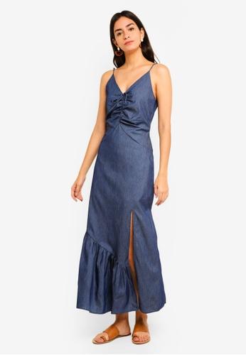 MDSCollections navy Wilma Tie-Front Dress In Navy Denim E9CA9AA79ED7AFGS_1