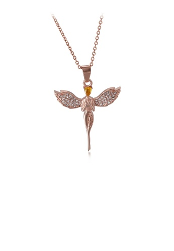 Glamorousky white Fashion and Elegant Plated Rose Gold Angel 316L Stainless Steel Pendant with Cubic Zirconia and Necklace 9CB1FAC622AD9EGS_1
