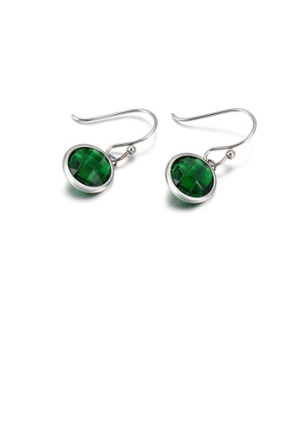 Glamorousky green Simple and Fashion Geometric Round 316L Stainless Steel Earrings with Green Cubic Zirconia AA77DAC20A9AEAGS_1