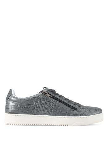 River Island grey Grey Textured Zip Sneakers EAE51SH3E9EE6BGS_1