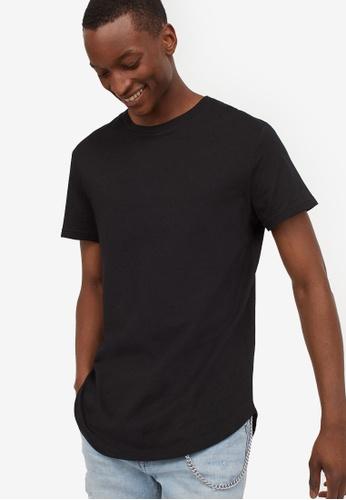 H&M black T-Shirt Long Fit 3B446AA9B5495AGS_1
