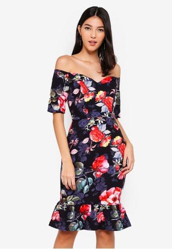 Paper Dolls black Rose Bardot Dress 76C80AABC680E0GS_1