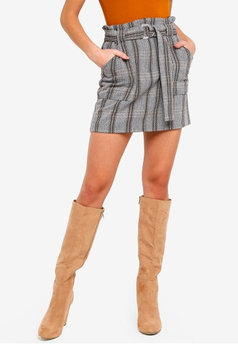River Island grey Checkered Paperbag Mini Skirt 8FAE2AAF0FF5DFGS_1