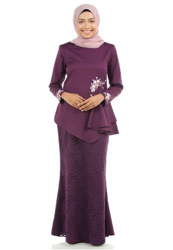 Ashura purple Dinara Kurung with Drapes FEF2AAA822169DGS_1