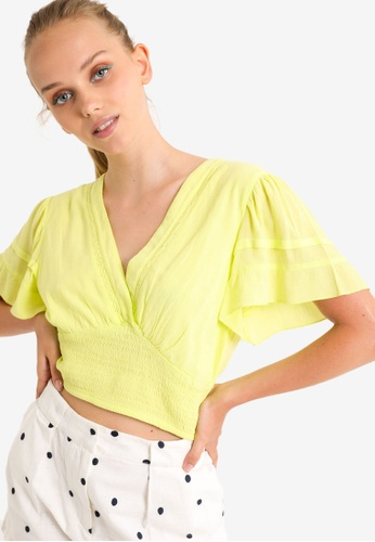 PIMKIE yellow V-Neck Crop Top 37A58AADCF30B0GS_1