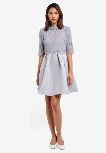 Little Mistress grey Lace Mini Dress DF323AAAC23213GS_1