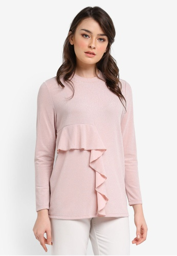 Zalia pink Shimmery Frill Top 941B0AA10D5112GS_1
