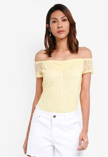 Dorothy Perkins yellow Petite Lemon Lace Bardot Top 621B3AA1875B99GS_1