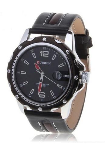 curren black Curren 8104 Men's Leather Watch (Full Black) CU537AC35RPWMY_1
