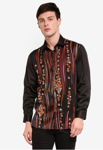 Gene Martino black Men's Batik Art Strip Shirt A0687AAB4F3900GS_1