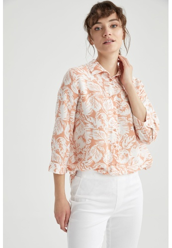 DeFacto orange Woman Woven Long Sleeve Shirt 67941AAC152D77GS_1