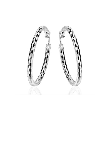 Glamorousky silver Simple and Elegant Geometric Circle Striped Earrings 96016AC79B4A16GS_1