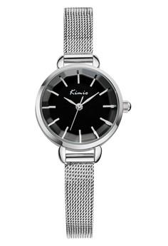 Kimio Round Quartz Stainless Steel Mesh Strap Band Watch - Black Dial