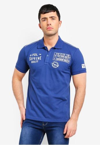Fidelio 藍色 短袖印花POLO衫 459FBAAEFA5AB8GS_1