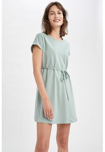 DeFacto green Short Sleeve Mini Dress 0A80FAA5F98C1BGS_1