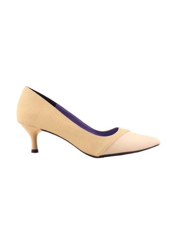 Flatss & Heelss by Rad Russel beige Two Toned Colored Heels-Beige AD976SH6EEBDD0GS_1