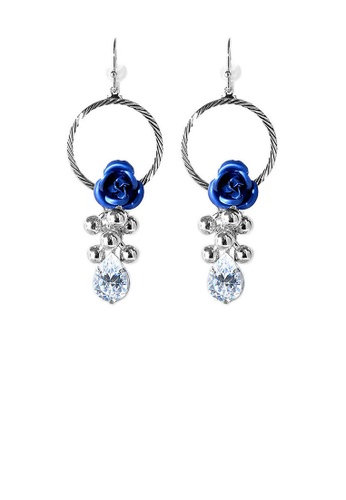 Glamorousky silver Elegant Blue Rose Earrings with Crystals Glass 4DD9AACDA93B01GS_1