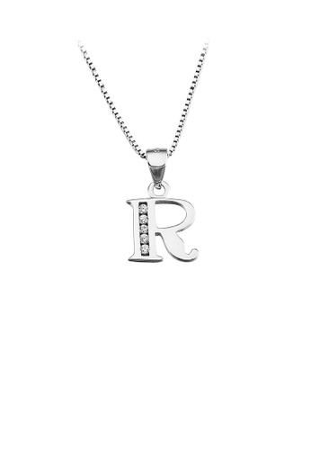 Glamorousky white 925 Sterling Silver Fashion Simple English Alphabet R Pendant with Cubic Zirconia and Necklace BD03BAC65669F4GS_1