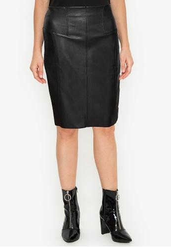Twenteen black High Waist Back Zipped Leather Midi Skirt B43CCAA02CE872GS_1