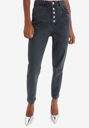 Trendyol grey High Waist Mom Jeans 05F6DAA8BC0C3DGS_1