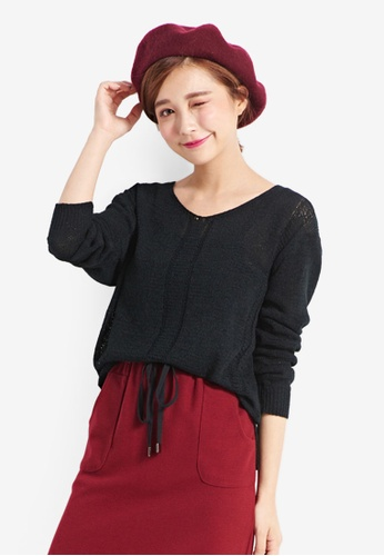 Tokichoi black Sweater in Sheer Rib Knit F0560AAEC72197GS_1