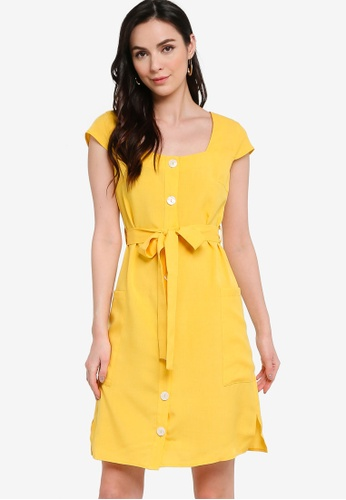 ZALORA WORK yellow Square Neck Button Down Dress 2996DAAE1D9A29GS_1