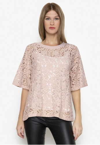 Chictees pink Isabella Lacey Top 3D8AFAA99A6710GS_1