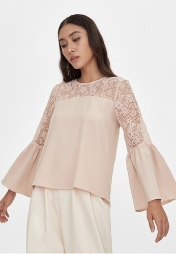 Pomelo pink Lace Accent Blouse - Pink A6B22AA9AACAB0GS_1
