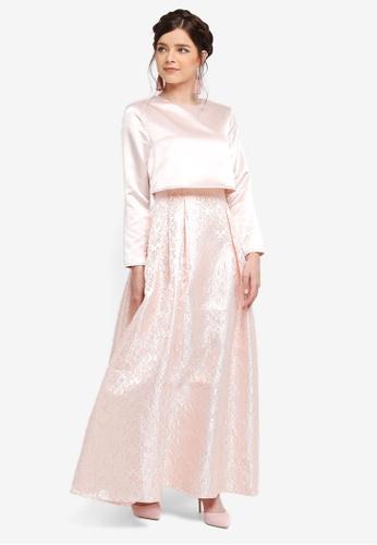 Zalia pink Jacquard Double Layer Dress 660ECAABCBC380GS_1
