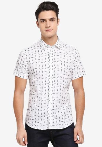 Burton Menswear London 白色 短袖印花襯衫 6CA1BAA15E1F84GS_1