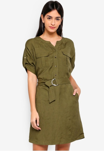 Hopeshow green Short Sleeve Dress with Tie Belt 86119AAB308CA2GS_1