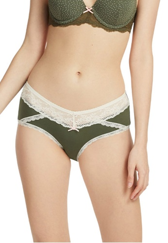 6IXTY8IGHT green Lace Panel Modal Shorty Panty PT08087 B4D44USA11A336GS_1