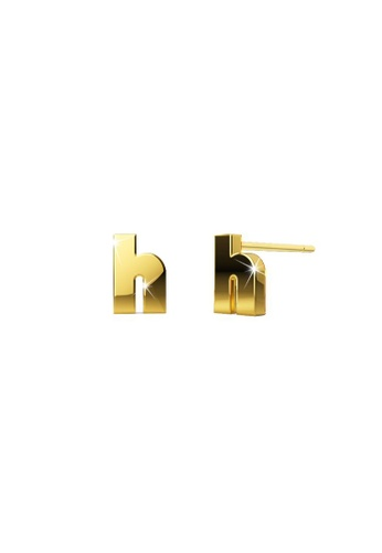 Bullion Gold gold BULLION GOLD Bold Initial Alphabet Letter Earrings Gold Layered Steel Jewellery- H 6D877AC8A60269GS_1