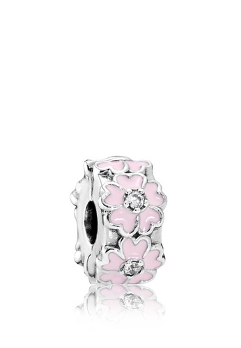 ace154985 Pandora silver Primrose Silver Clip With Clear Cubic Zirconia, Pink Enamel  And Silicone Grip 54A60ACF44C48EGS_1